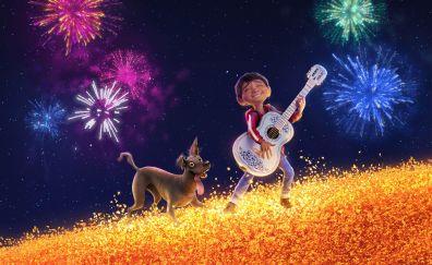 Coco, movie, dog and ghost, fun, firework, 4k
