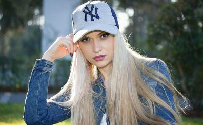 Blonde, girl, model, baseball cap