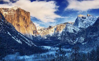 Winter, nature, tree, mountains, yosemite valley, 4k