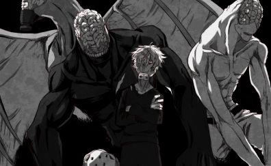 Noumu, Tomura Shigaraki, Boku no Hero Academia, My Hero Academia, anime, monochrome