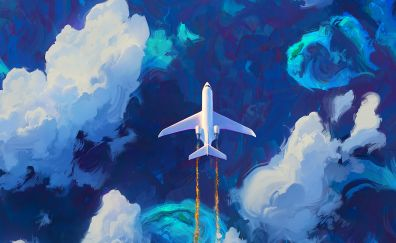 Flying plane in clouds, artwork