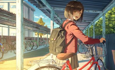 School girl, bicycle, original