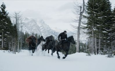 2017 movie, War for the planet of the apes, horse riding, 4k