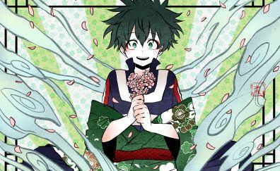Izuku Midoriya, flowers, anime boy