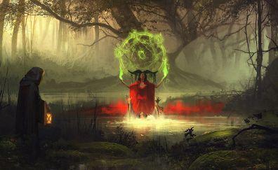 Magic, witch, devil, lake, fantasy, art