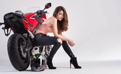 Phasinee Boonrod, girl, Asian model, bike, helmet