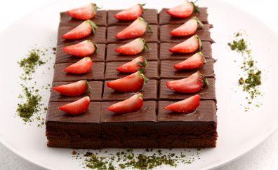 Brownie, cake, fruits, strawberry, dessert, 4k