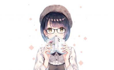 Anime girl, short hair, book