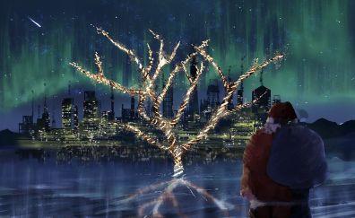 Santa, christmas, holiday, art