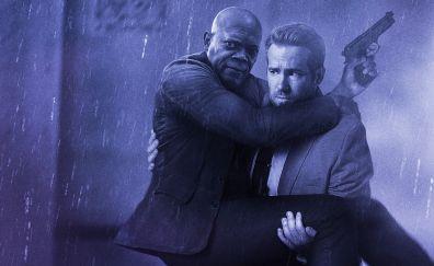 Samuel L. Jackson, Ryan Reynolds, The Hitman's Bodyguard, 2017 movie, poster, rain