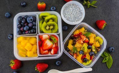 Fruits salad, blueberry, kiwifruit, strawberry, 4k