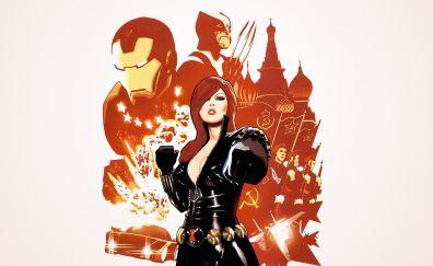 Black widow, minimal, marvel comics