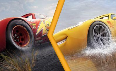 Race, Lightning McQueen vs Cruz Ramirez, Cars 3, 4k