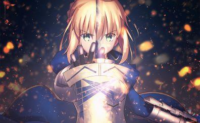 Blonde, Angry Saber, anime girl