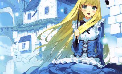 Happy Alice, Alice in wonderland, anime girl, blonde, umbrella