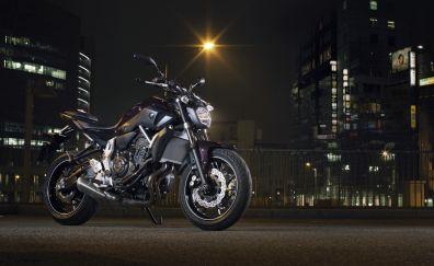 Motorcycle, night, Yamaha, Yamaha MT-07