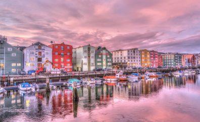 Trondheim city, houses, river, sunrise