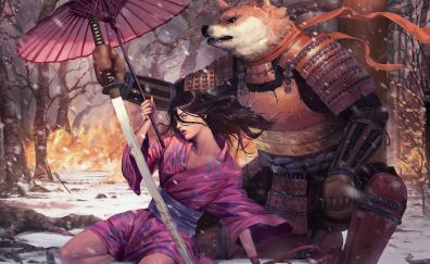 Warriors, woman and wolf, fantasy, art