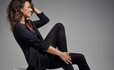 Brunette, smile, Anna Lewandowska, black clothing