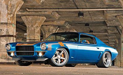 Chevrolet camaro, blue, muscle car