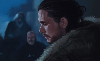 Game of thrones, jon snow, face, art, 4k