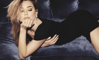 Amber heard, famous celebrity, lying down