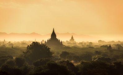 Burma, sunrise, temple, horizon, nature