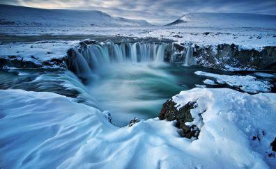 Godafoss, winter, iceland, waterfall, 5k