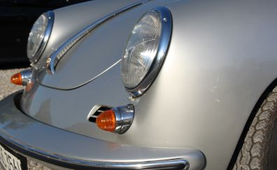 Porsche, silver car, headlights