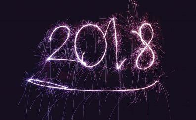 2018, happy new year, fireworks, sparklers, 4k