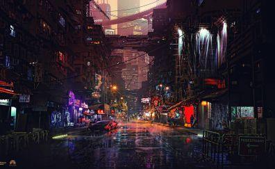 Cybercity, night road, art, 4k