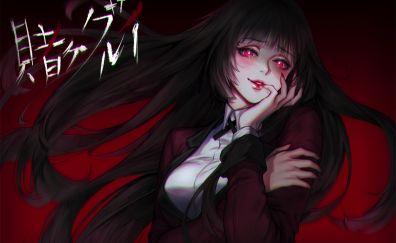 Jabami Yumeko, red eyes, cute, anime girl, art