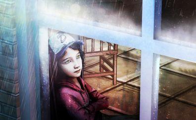Clementine, The Walking Dead, video game, window, rain