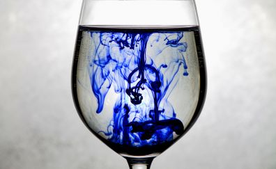 Blue Ink dipping in glass