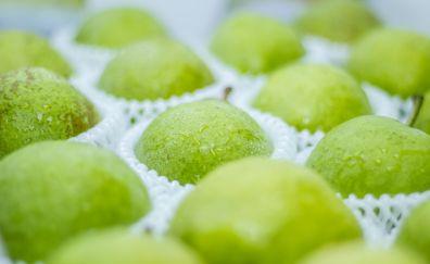 Pear, green fruits, packaging, 4k