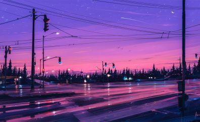 Traffic signals, road, night, illustration, art