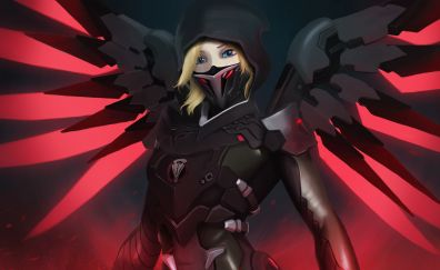 Mercy, dark, overwatch, mask, red wings