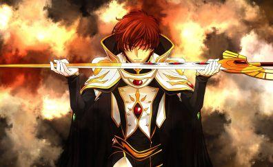 Suzaku Kururugi, Code geass, anime boy with sword, 4k