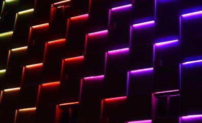 Lights, stripes, buildings' decorations, pattern, 4k