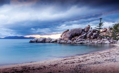 Clouds, beach, Magnetic Island