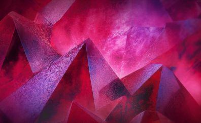 Pyramids, pink abstract, 4k