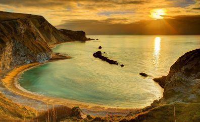 Coast, landscape, skyline, sea, morning