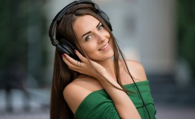 Music, headphone, girl model, smile