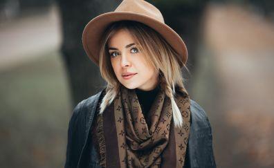 Hat, jacket, woman, outdoor