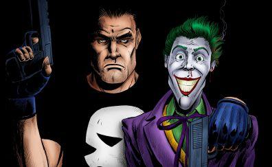 Punisher and joker, artwork, 4k