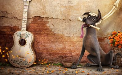 Dog and guitar, coco, movie