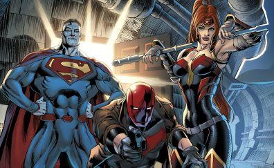 Red hood, superman, batman, dc comics