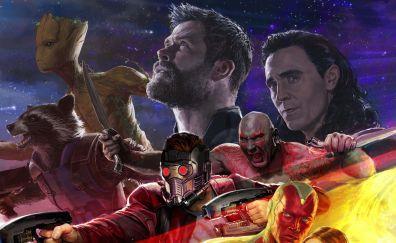 Avengers: infinity war, thor, groot, fan art
