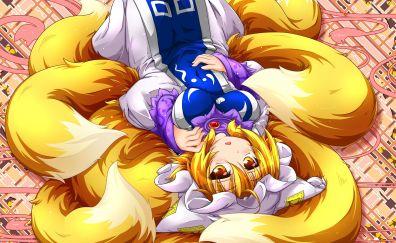 Blonde, lying down, Ran Yakumo - Touhou, 4k