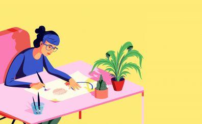 Work desk, illustration, art, 4k